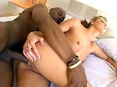 Skinny bitch gets her ass eaten from behind
