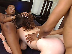 Hardcore interracial 3some with two hot bitches